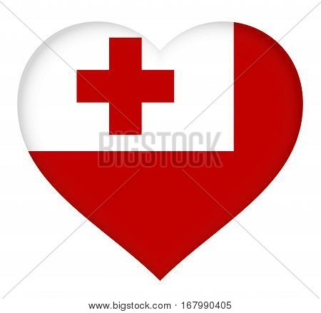 Illustration of the national flag of Tonga shaped like a heart
