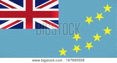 Illustration of the national flag of Tuvalu looking like it has been painted onto a brickwall.