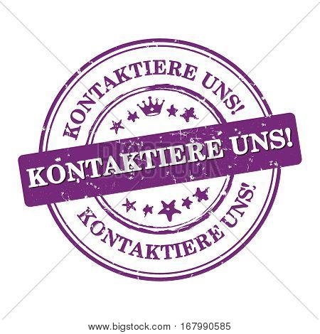 Contact us! (German language) - label  / sticker  / sign / icon, also for print