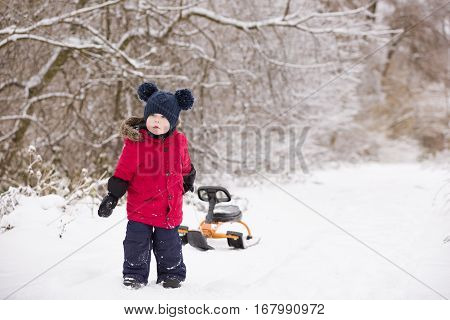Adorable toddler boy pulling his sledge on a winter road in the park. Child walking on snow outdoors. Lifestyle concept.