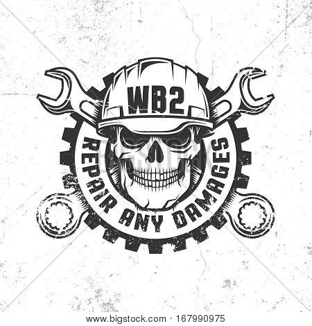 Mechanical repair workshop retro logo with skull in hard hat crossed spanners and gear. Vector layered illustration - worn textures can be disabled.