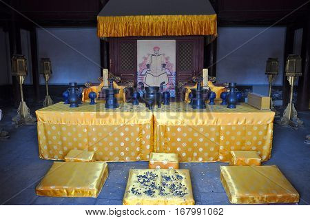SHENYANG, CHINA - JUL. 26, 2012: Interior of Ancestral Temple in Shenyang Imperial Palace Mukden Palace, Shenyang, Liaoning Province, China. Shenyang Imperial Palace is UNESCO world heritage site.