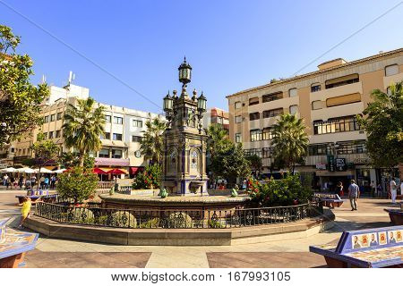 ALGECIRAS, SPAIN - SEPTEMBER 24: Historic Plaza Alta (High Square) in the old town of Algeciras, Spain. It is one of the major centres of activity in the city on September 24, 2016.