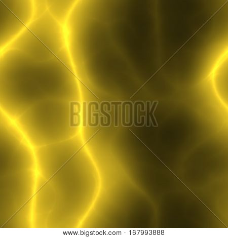 Yellow electric curvy lines in dark seamless background