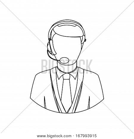 monochrome contour with men operator with headphone vector illustration