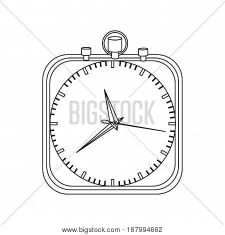 monochrome contour with chronometer in square shape vector illustration