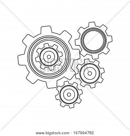 monochrome contour with set gear wheel vector illustration