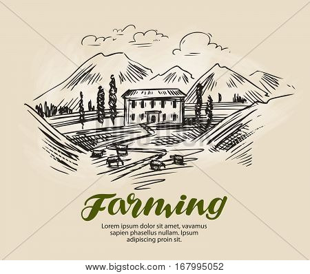 Farm sketch. Farming, agriculture natural scenery vector illustration