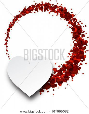 Love valentine's background with hearts. Vector paper illustration.