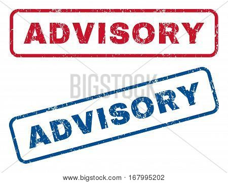 Advisory text rubber seal stamp watermarks. Vector style is blue and red ink tag inside rounded rectangular banner. Grunge design and dirty texture. Blue and red signs.