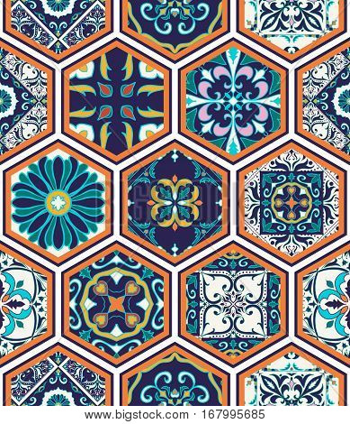 Vector seamless texture. Beautiful mega patchwork pattern for design and fashion with decorative elements in hexagon. Portuguese tiles, Azulejo, Moroccan ornaments