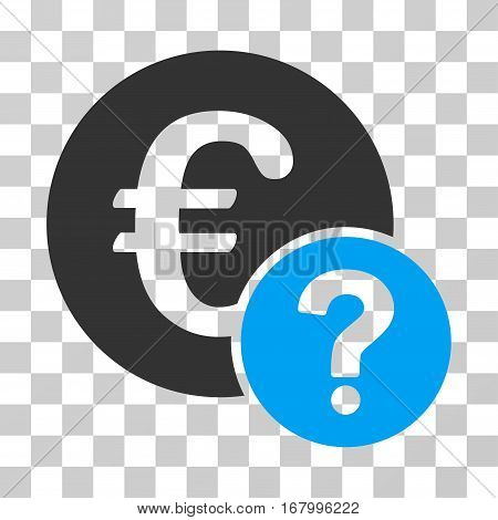 Euro Status icon. Vector illustration style is flat iconic bicolor symbol, blue and gray colors, transparent background. Designed for web and software interfaces.