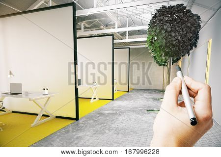 White hand drawing modern coworking office with decorative tree and partitions. Unfinished project concept