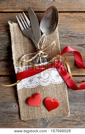 Valentines cutlery set inside pouch with silk ribbon and a gift box