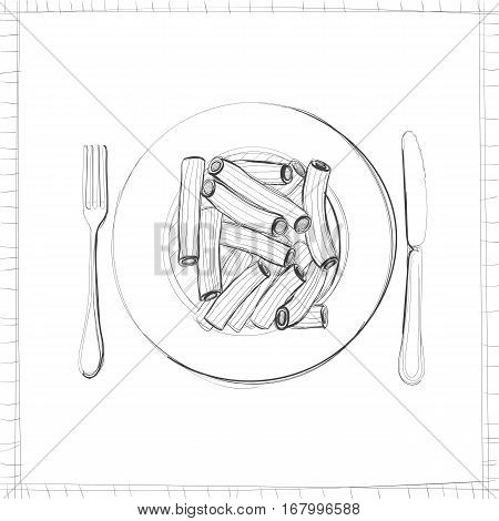 Sketch with pasta. Maybe one of the elements of corporate identity postcard.