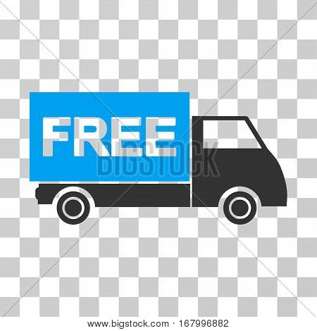 Free Shipment icon. Vector illustration style is flat iconic bicolor symbol, blue and gray colors, transparent background. Designed for web and software interfaces.