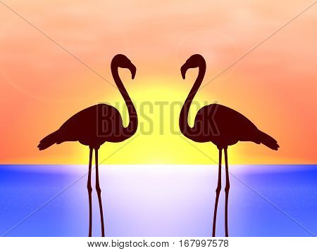 Vector illustration of black silhouette of couple of flamingos in the background of the sea and sunset. Side view, profile.