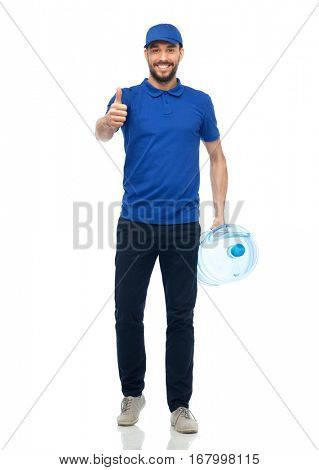 delivery service, gesture and people concept - happy man or courier with bottle of water