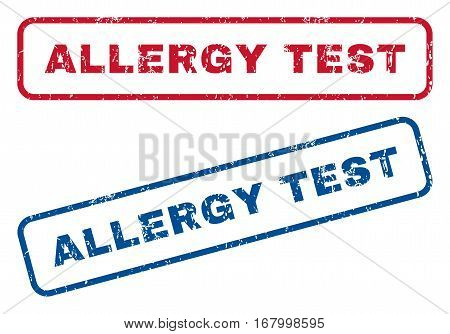 Allergy Test text rubber seal stamp watermarks. Vector style is blue and red ink caption inside rounded rectangular banner. Grunge design and dust texture. Blue and red stickers.