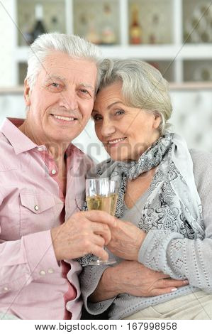 Portrait of a mature couple drinking champagne, close up