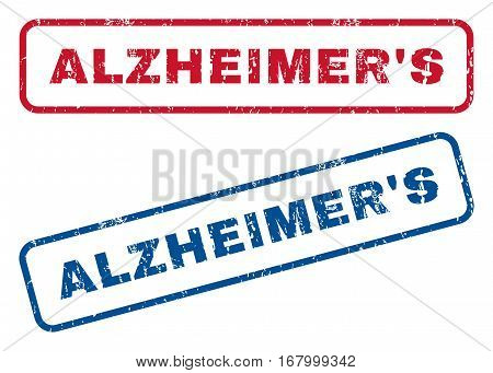Alzheimer'S text rubber seal stamp watermarks. Vector style is blue and red ink caption inside rounded rectangular banner. Grunge design and dirty texture. Blue and red signs.