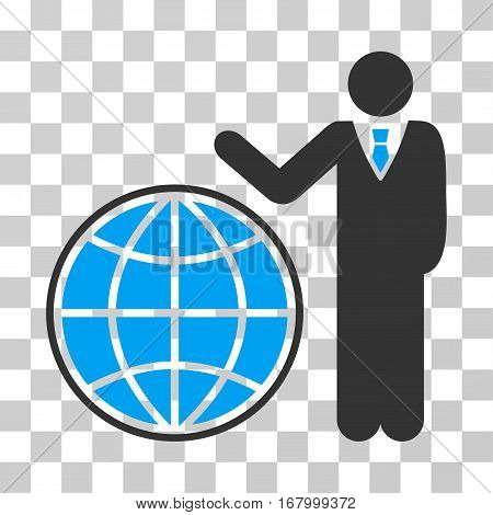 Planetary Manager icon. Vector illustration style is flat iconic bicolor symbol, blue and gray colors, transparent background. Designed for web and software interfaces.