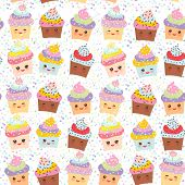 Seamless pattern Cupcake Kawaii funny muzzle with pink cheeks and winking eyes pastel colors on white background. Vector illustration poster