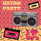 Retro party 90s. Audio cassette tape recorder geometric elements. Vector illustration in 80s-90s memphis style. poster
