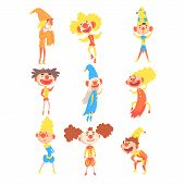 Medieval Clowns And Fools Collection Of Childish Stylized Jester Characters With Painted Faces And Classic Outfits. Cartoon Funny Circus Comic Artists With Red Noses Flat Illustrations. poster