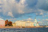 St Petersburg Russia - Kunstkamera and St Petersburg Academy of Sciences along the Neva river embankment in St Petersburg Russia poster