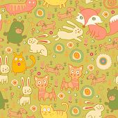 Texture of the cute baby animals in children style poster