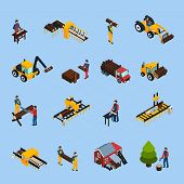 Sawmill isometric icons set of woodworking machinery working loggers and vehicles for timber transportation isolated vector illustration poster