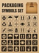 Packaging symbols set including Fragile Handle with care Keep dry This side up Flammable Recycled Package weight Do not litter Max stack Clamp and Sling here Protect from heat and others poster