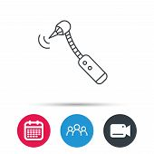 Drilling tool icon. Dental oral bur sign. Group of people, video cam and calendar icons. Vector poster