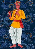 Vector design of artist playing Bansuri flute folk music of India on floral background poster