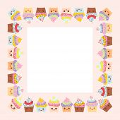 Card design with square frame Cupcake muzzle with pink cheeks and winking eyes pastel colors on pink white background. Vector illustration poster