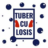 World Tuberculosis Day poster with bubbles, lungs and a frame on white background. TB awareness disease sign. Medical solidarity day concept. Vector illustration. poster