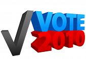 Cast a vote for red or blue in 2010 off year election as a check mark choice. poster