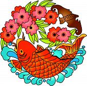 Chinese Lucky sign (Carp fish design) (Vector) poster
