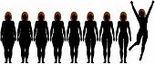 Woman frontal silhouettes of before and after fat to fit Diet Weight Loss Success poster
