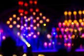 Abstract background with defocused bokeh of laser show in modern disco party night club - Concept of nightlife with music and entertainment - Image with powered colored halos and vivid bright lights poster
