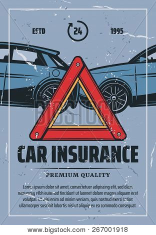 Car Insurance Retro Poster For Emergency And Drive Safety Or Responsibly. Vector Vintage Brochure Wi