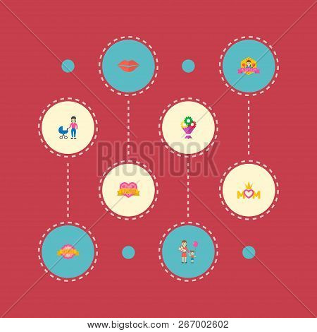 Happy Mothers Day Icon Flat Layout Design With Perambulator, I Love Mom And Children Symbols. Lovely