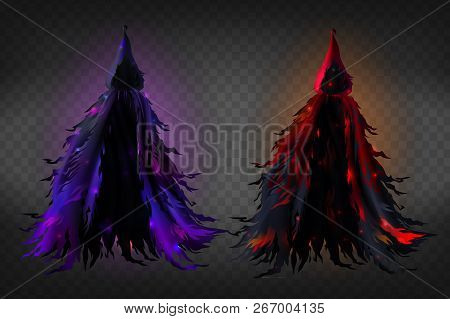 Vector Realistic Witch Costume With Hood, Black Ragged Cape With Red And Purple Glow For Halloween P