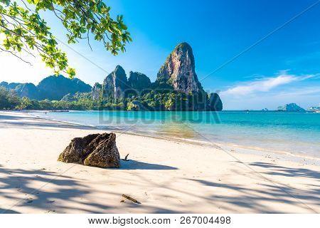 Paradise Railay Beach Sea And Limestone Krabi Thailand