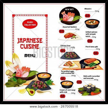 Japanese Cuisine Menu With Fish And Veggies. Vector Misosiru And Sashimi, Salmon And Chicken Liver,