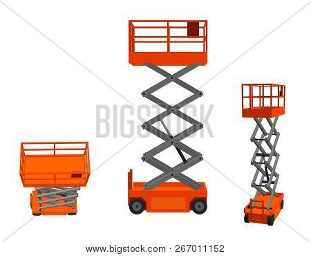 Scissors Lift Platform. Isolated On White Background. 3d Vector Illustration.