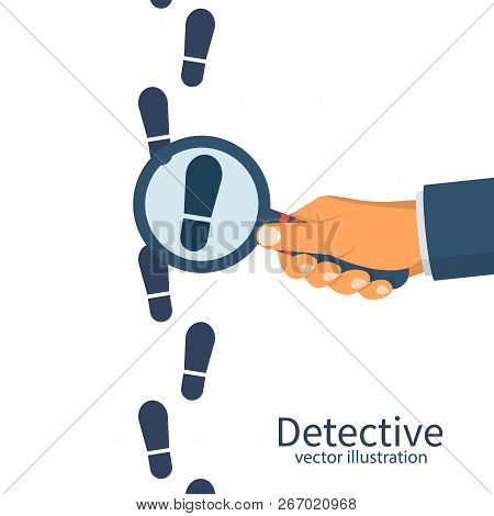 Detective Is Investigating. Human In Holds A Magnifying Glass. Vector Illustration Flat Design. Isol