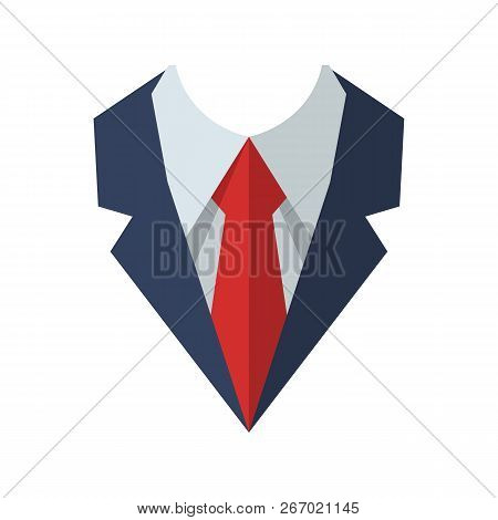 Tie Isolated On Background. Necktie Flat Icon. Vector Illustration Style Design. Neckcloth Accessory