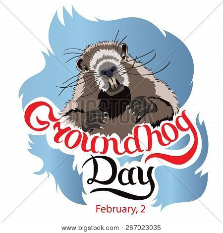 Happy Groundhog Day Greeting Card With Hand Drawn Lettering